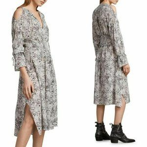 ALLSAINTS Lavete Paisley Cold Shoulder Midi Dress